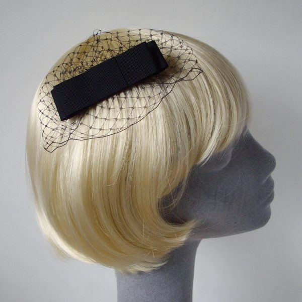 Black Ribbon Bow Hair Comb