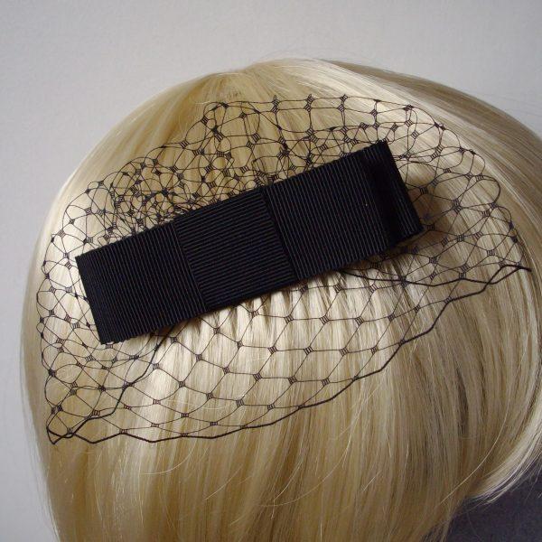 Black Ribbon Bow Hair Comb detail
