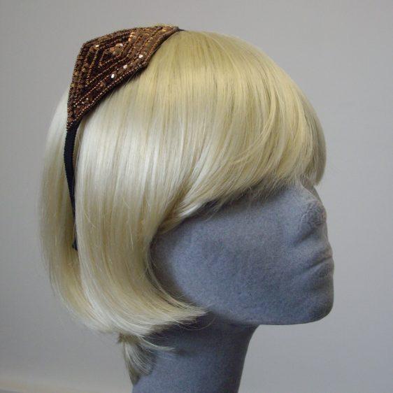 Bronze Sequin and Beaded Motif Headband angle