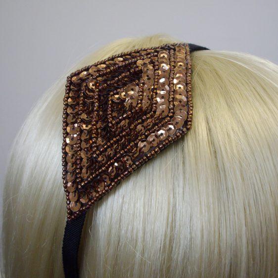 Bronze Sequin and Beaded Motif Headband detail2