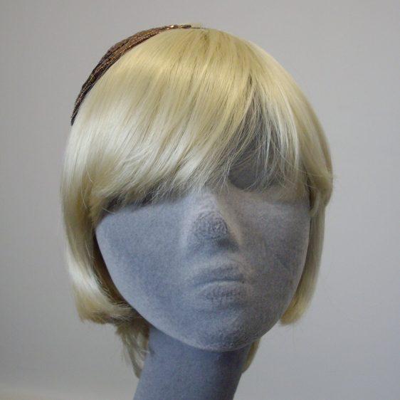 Bronze Sequin and Beaded Motif Headband front