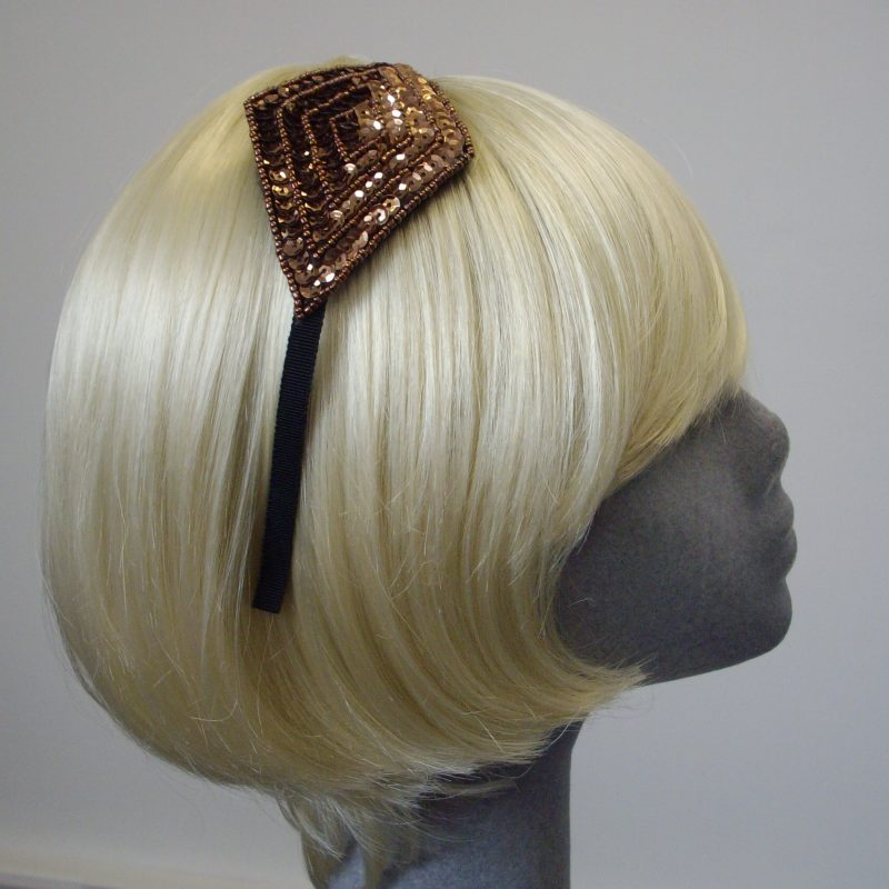 Bronze Sequin and Beaded Motif Headband