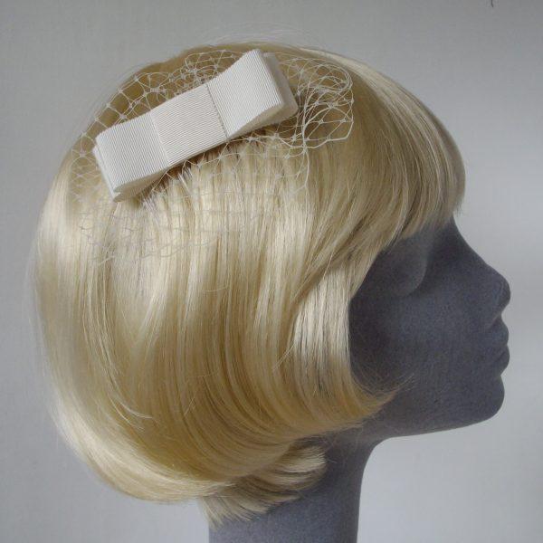 Ivory Ribbon Bow Hair Comb