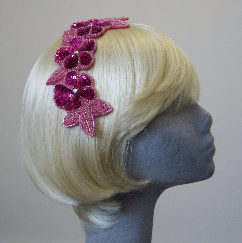 pink sequin floral headpiece-side