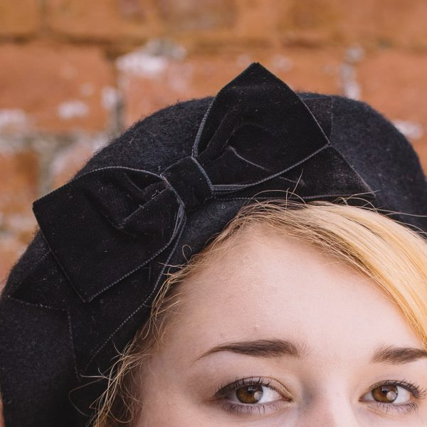 Black Beret Black Velvet Ribbon Bow detail