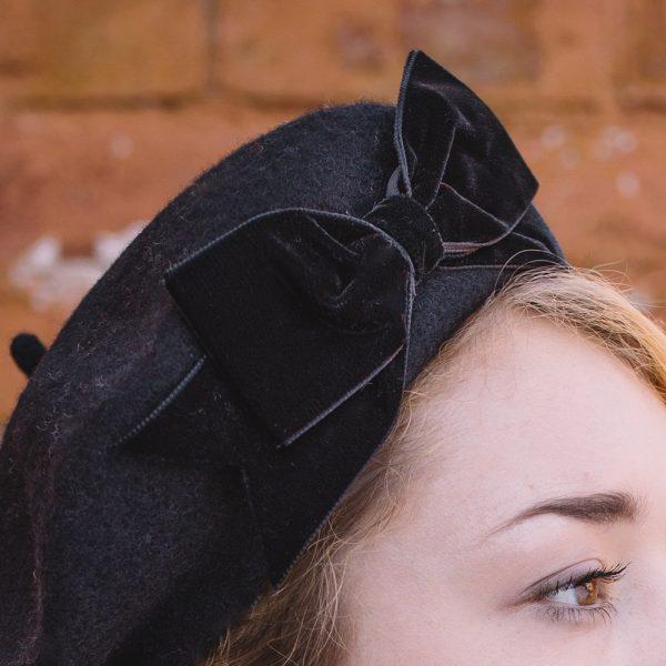 Black Beret Black Velvet Ribbon Bow detail2
