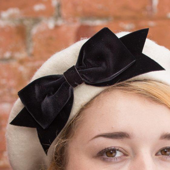 Ivory Beret Black Velvet Ribbon Bow detail