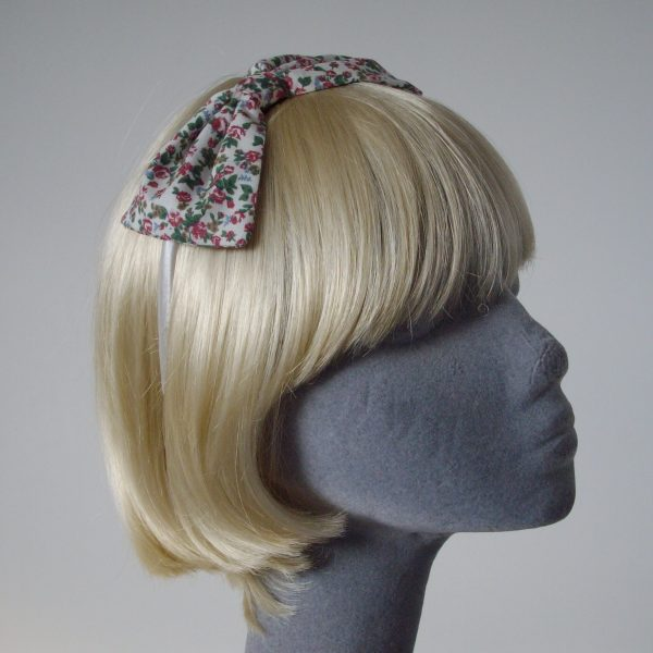 Ivory Pink Ditsy Floral Bow Headband