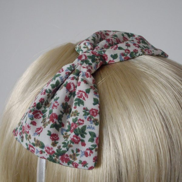 Ivory Pink Ditsy Floral Bow Headband detail2