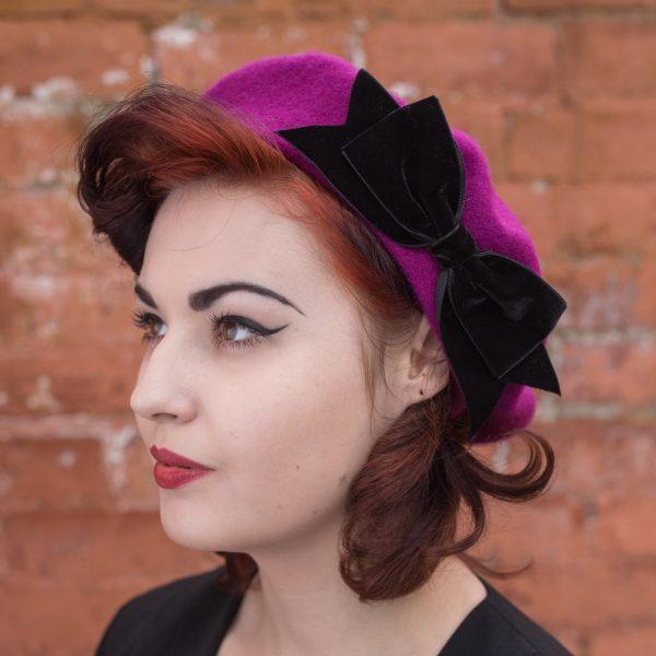 Magenta Beret Black Velvet Ribbon Bow