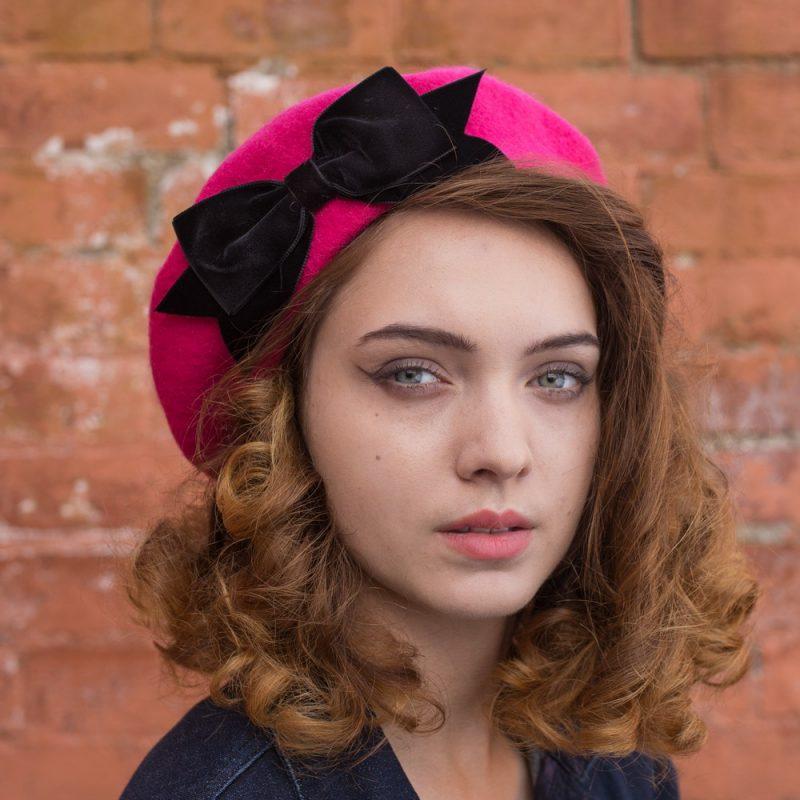 Pink Beret Black Velvet Ribbon Bow