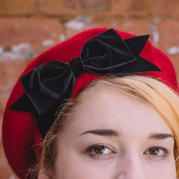 Red Beret Black Velvet Ribbon Bow detail