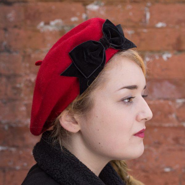 Red Beret Black Velvet Ribbon Bow side