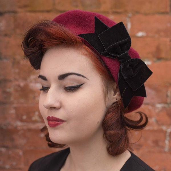 Wine Red Beret Black Velvet Ribbon Bow