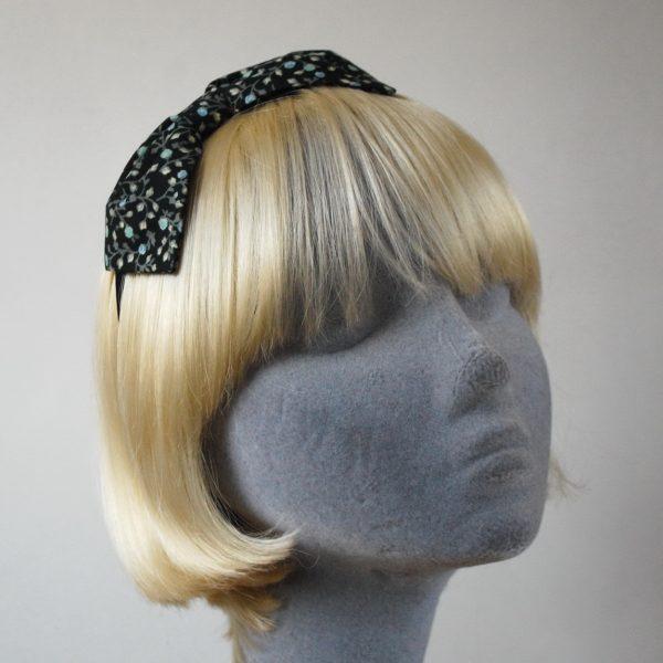 Black Aqua Floral Bow Headband