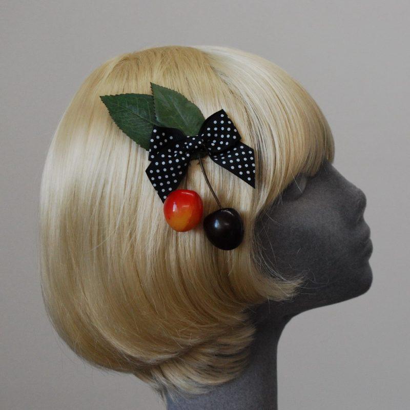 Black Polka Dot Bow Cherry Hair Clip