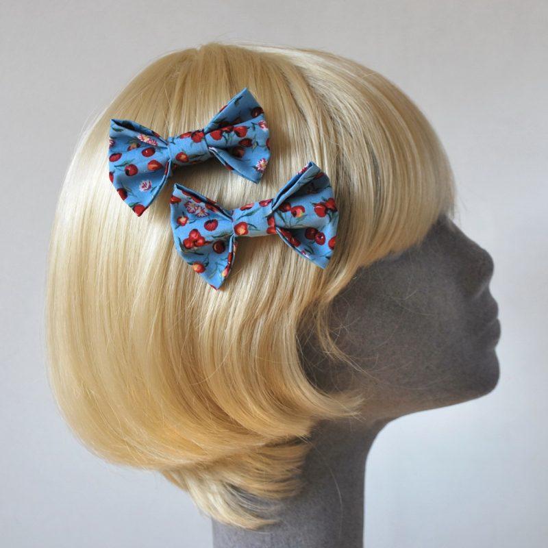 Blue Cherry Print Bow Hair Clip