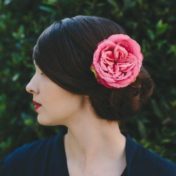 Hot Pink Rose Hair Clip