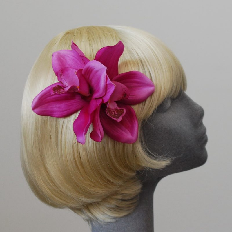 Pink Double Orchid Hair Clip