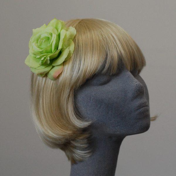 Green Rose Hair Clip angle