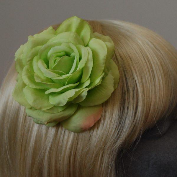 Green Rose Hair Clip detail