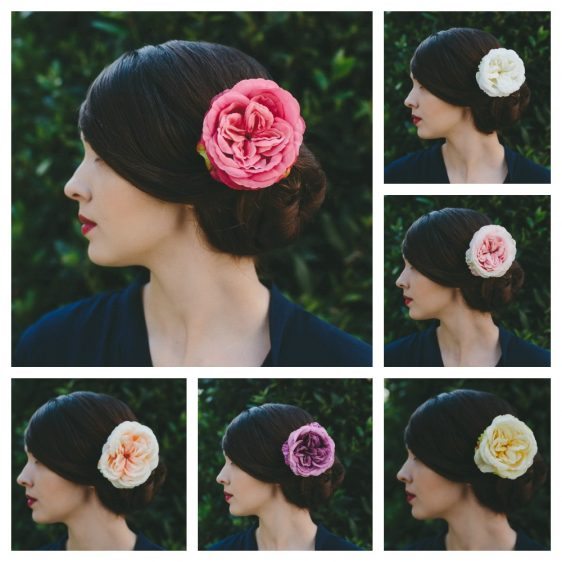 Hot Pink Rose Hair Clip collage