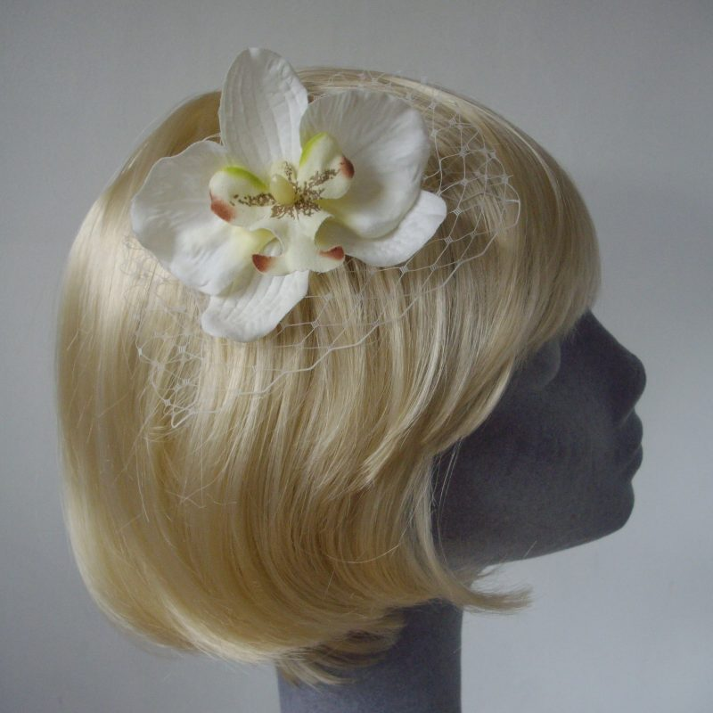 Ivory Green Orchid Flower Hair Comb