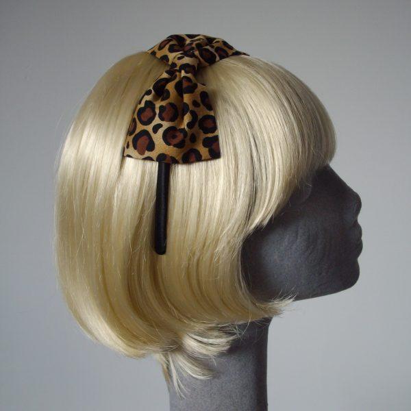 Leopard Bow Headband side