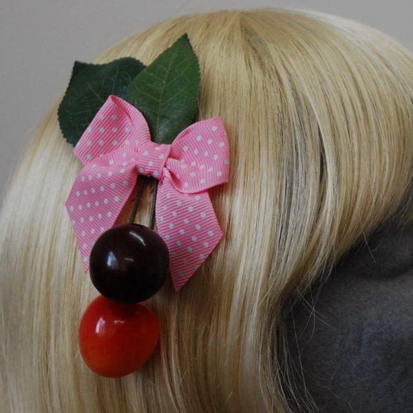 Pale Pink Polka Dot Bow Cherry Hair Clip detail