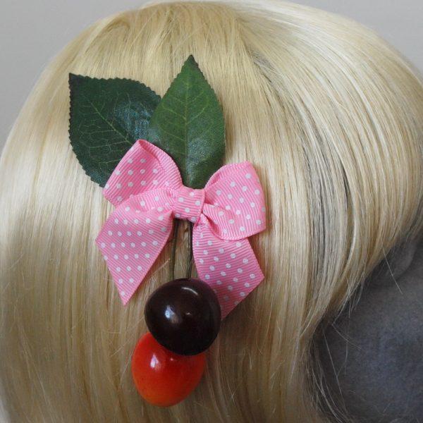 Pale Pink Polka Dot Bow Cherry Hair Clip detail2