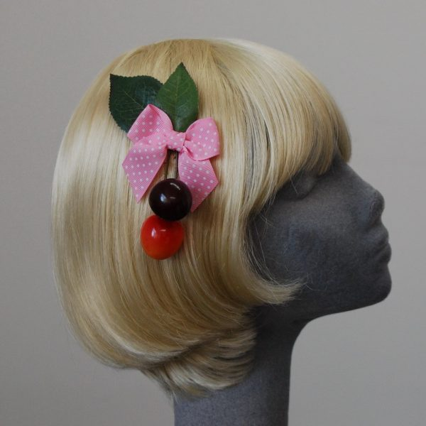 Pale Pink Polka Dot Bow Cherry Hair Clip