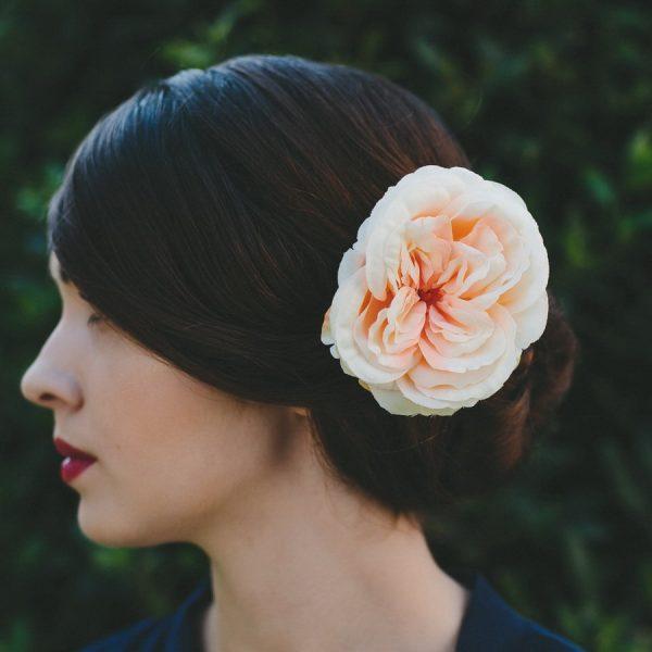 Peach Rose Hair Clip