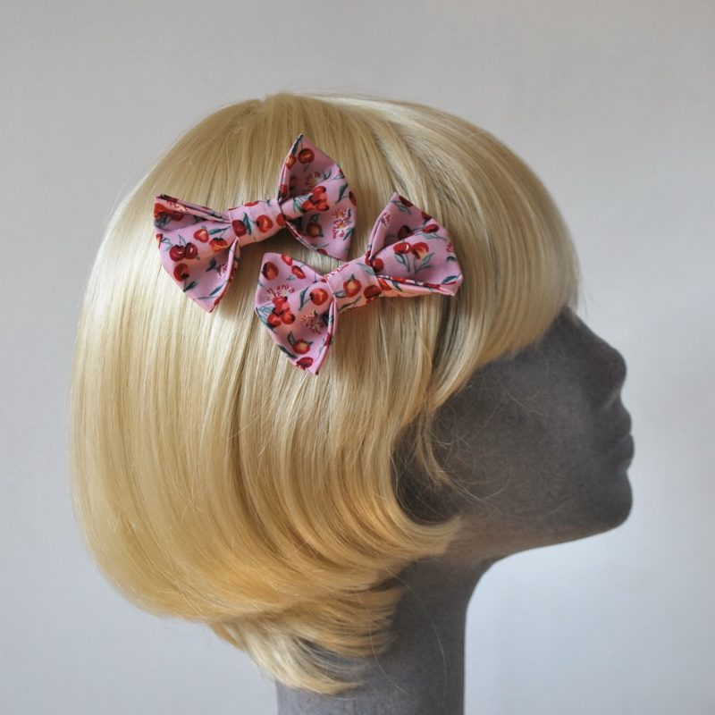 Pink Cherry Print Bow Hair Clip