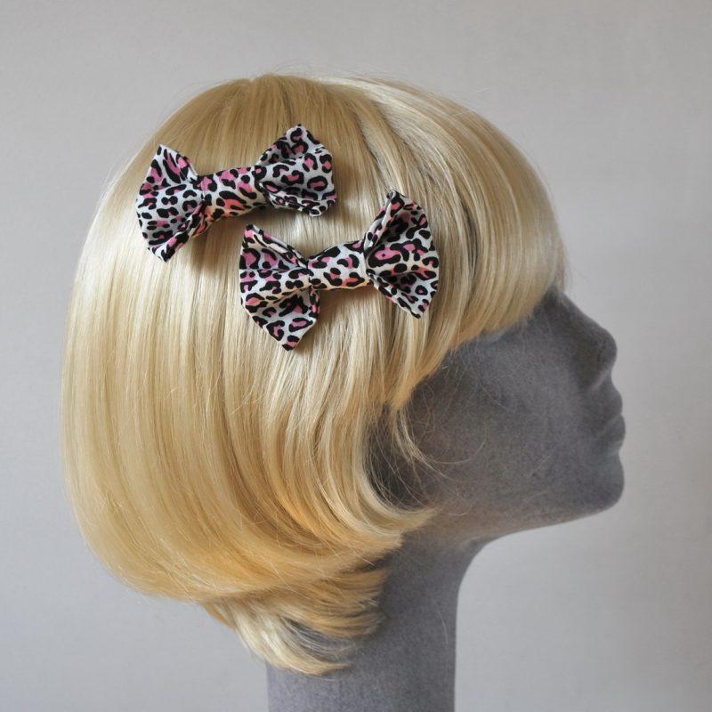 Pink Leopard Print Bow Hair Clip