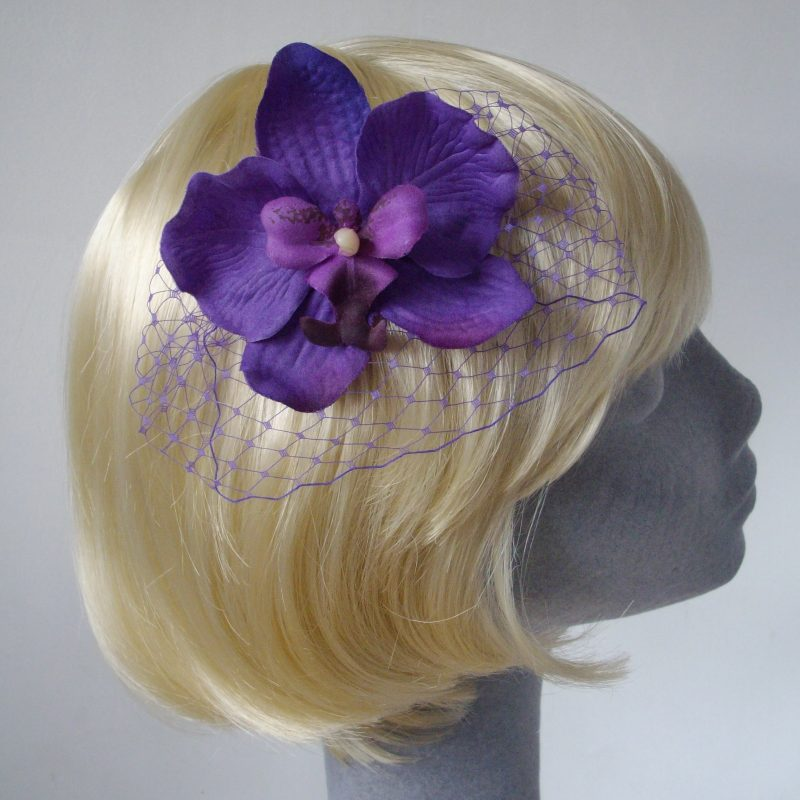 Purple Orchid Floral Hair Comb