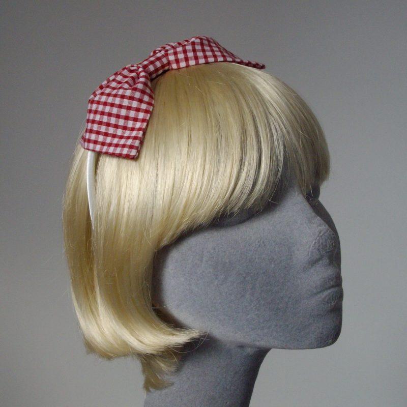 Red Gingham Bow Headband