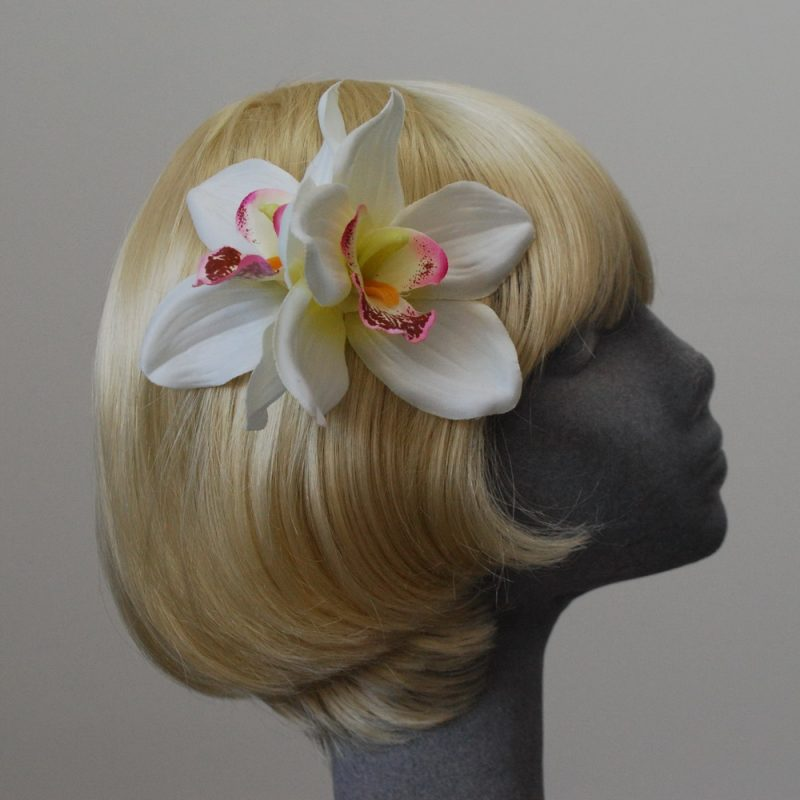 White Pink Double Orchid Hair Clip