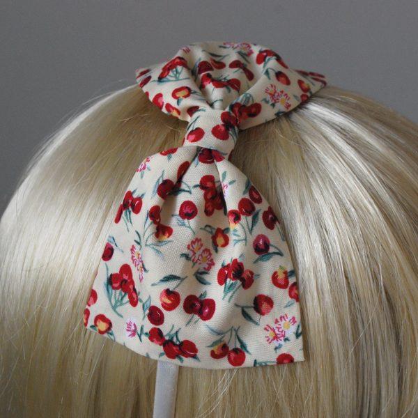 Yellow Cherry Bow Headband detail