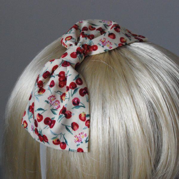 Yellow Cherry Bow Headband detail2