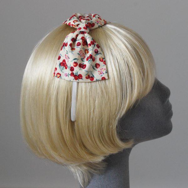 Yellow Cherry Bow Headband side
