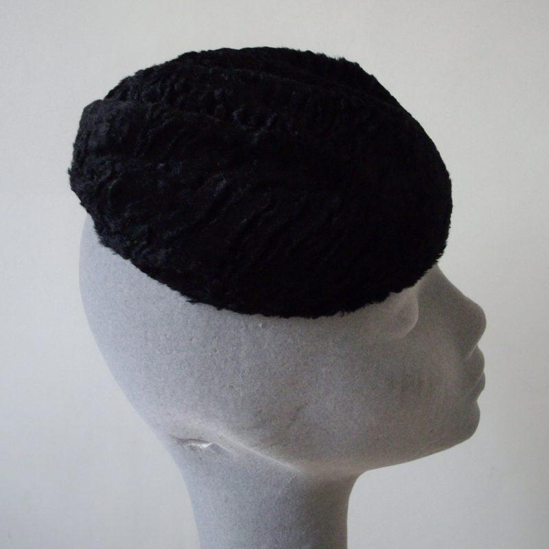 Black Astrakhan Faux Fur Button Hat
