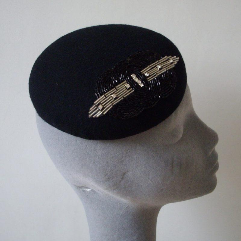 Black Felt Button Hat with Art Deco Bead Motif