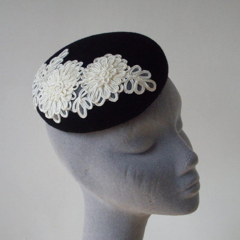 Black Felt Button Hat with Ivory Flower Motif