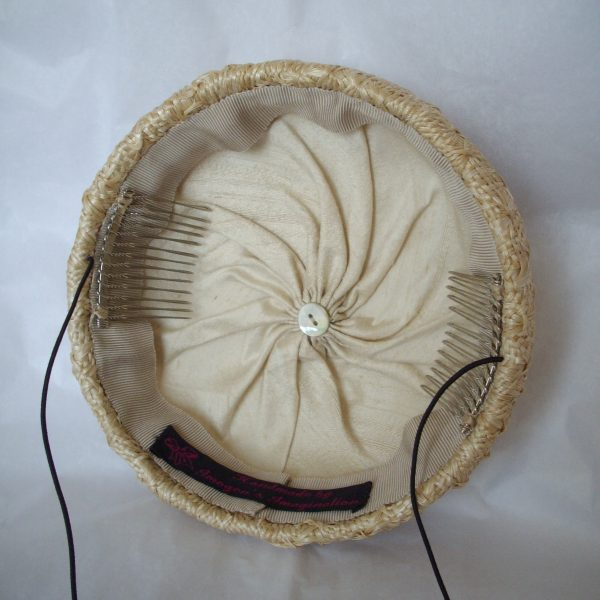 Natural Straw Button Hat with Ribbon Rosettes lining