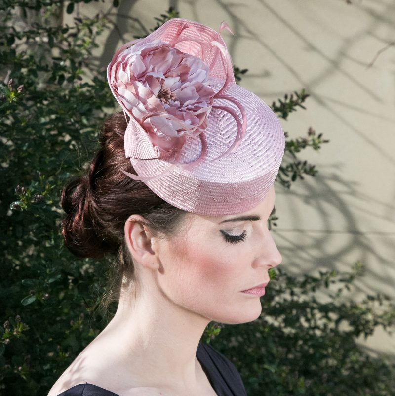 Pink Straw Pill Box Hat with Flower and Feathers