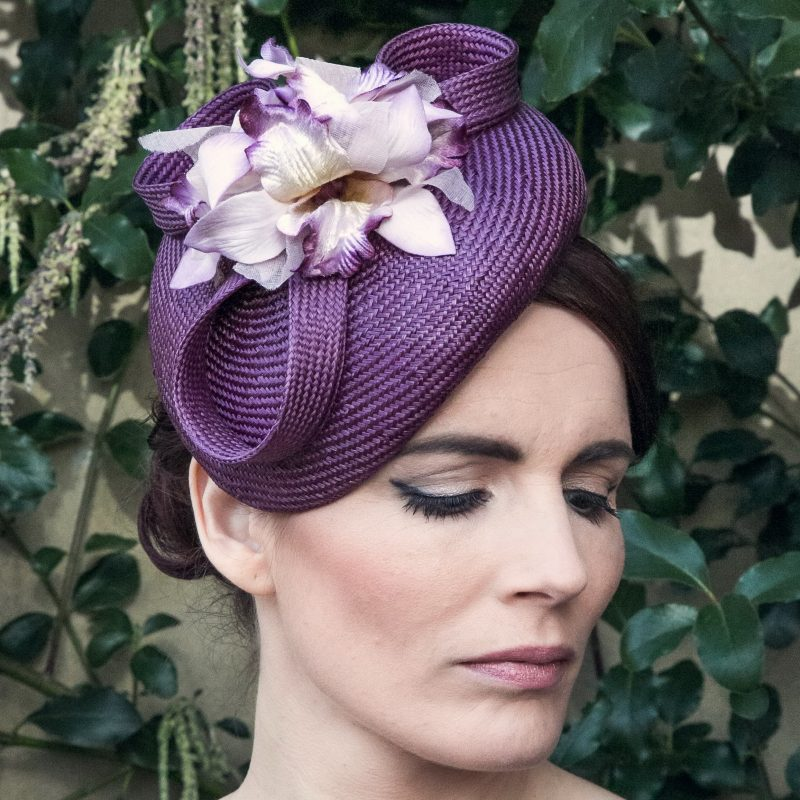 Purple Straw and Orchid Flower Sloped Beret Hat