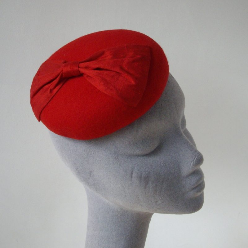 Red Felt Button Hat with Silk Bow