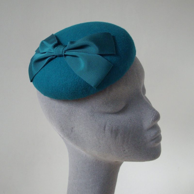 Turquoise Felt Button Hat with Ribbon Bow