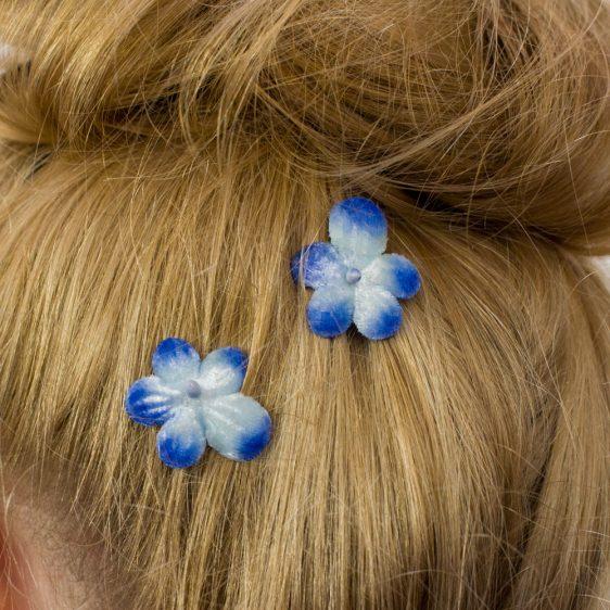 Blue Blossom Flower Hair Clips detail