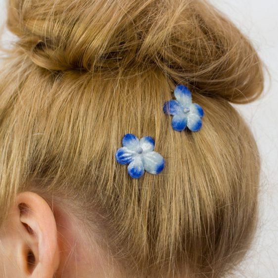 Blue Blossom Flower Hair Clips